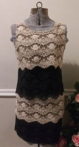 EUC Jessica Simpson Cream & Black Lace Mini Dress